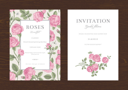 Floral vector vertical vintage invitation. Set. Pink Garden Roses.