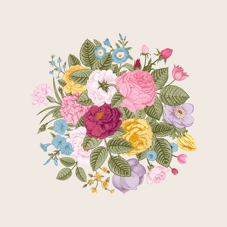 Vintage floral vector bouquet with colorful summer garden flowers. Illustration
