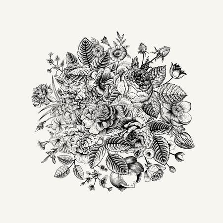 zomertuin: Vintage floral vector boeket met Black & White zomer tuin bloemen. Stock Illustratie