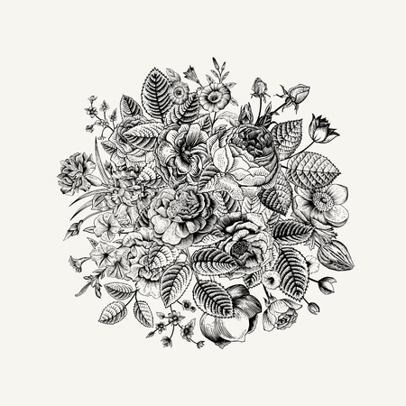botany: Vintage floral vector bouquet with Black & White summer garden flowers.