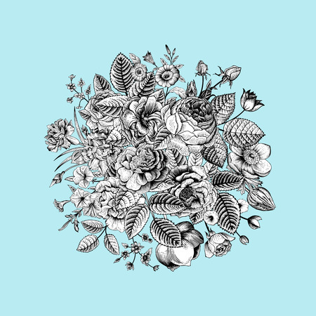 Vintage floral vector bouquet with Black & White summer garden flowers on mint background. Ilustração