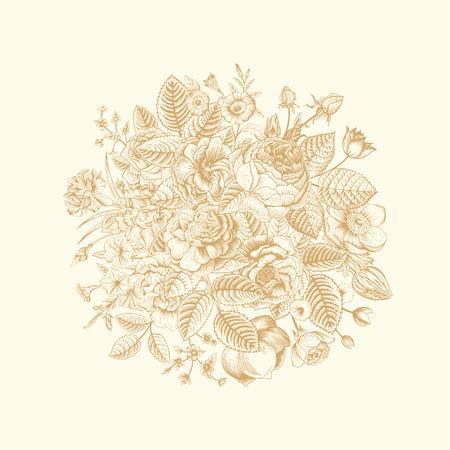 zomertuin: Vintage floral vector boeket met gouden zomertuin bloemen op beige achtergrond.