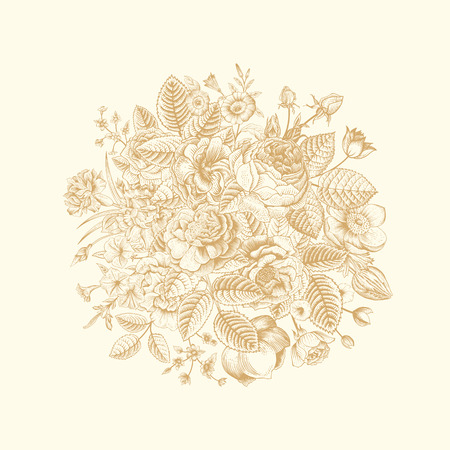 Vintage floral vector bouquet with gold summer garden flowers on beige background. Иллюстрация