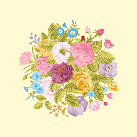 Vintage floral vector bouquet with colorful summer garden flowers. Bright color.