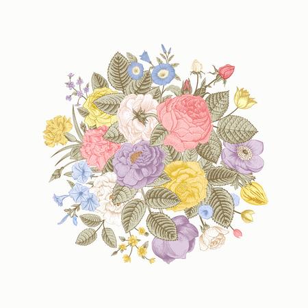 zomertuin: Vintage floral vector boeket met kleurrijke zomer tuin bloemen. Pastel kleur.