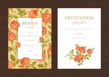 Floral vector vertical vintage invitation. Set. Coral Garden Roses. Vector