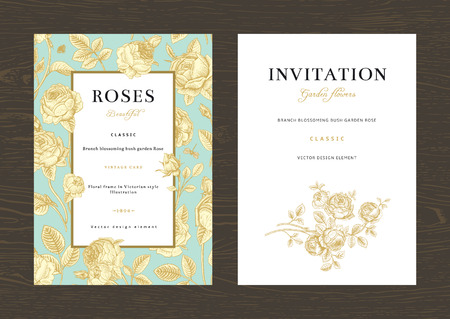 Floral vector vertical vintage invitation. Set. Gold Garden Roses on mint background.