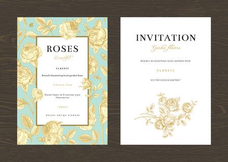 Floral vector vertical vintage invitation. Set. Gold Garden Roses on mint background.