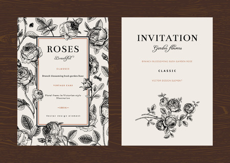 botanical: Floral vector vertical vintage invitation. Set. Black and white Garden Roses.