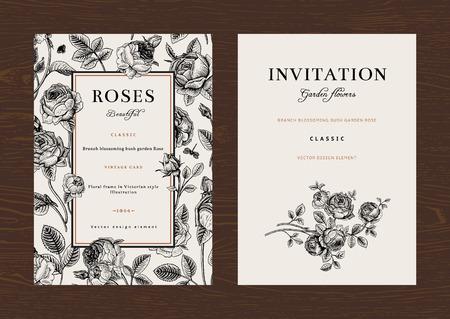 cartoline vittoriane: Vettore floreale verticale vintage invito. Imposta. In bianco e nero rose del giardino.