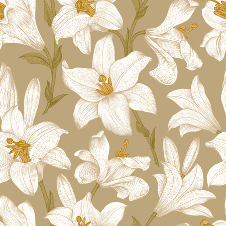 Seamless vector floral pattern. White royal lilies flowers on a brown background. Vector