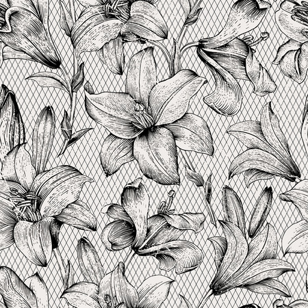 Seamless vector floral pattern. Royal lilies flowers. Black and white graphics. Monochrome. Vector