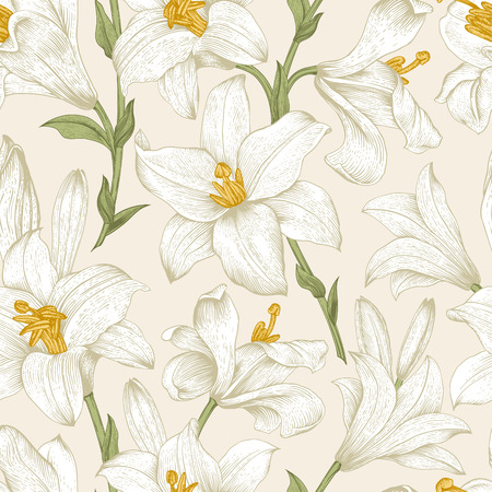 Seamless vector floral pattern. White royal lilies flowers on a beige background. Vector