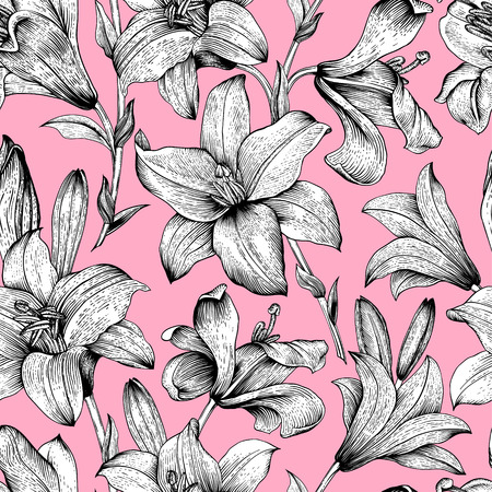 Seamless vector floral pattern. Black and White royal lilies flowers on a pink background.