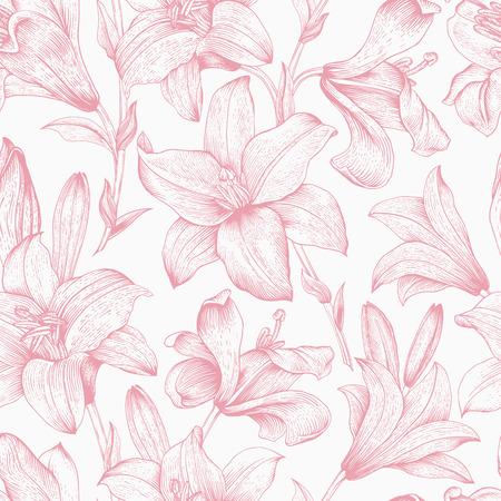 シームレス花柄。白地にピンクのロイヤル ユリの花。
