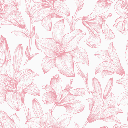 Seamless vector floral pattern. Pink royal lilies flowers on a white background. Illustration