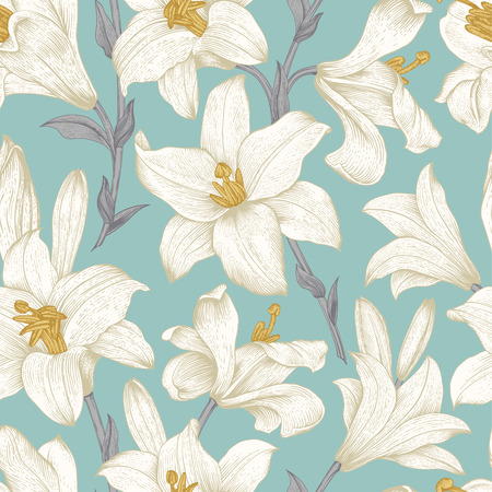 Seamless vector floral pattern. White royal lilies flowers on a mint background.