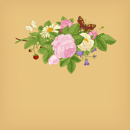 Summer vector vintage card with floral bouquet of garden pink roses, strawberries, bells on a beige background. Vector