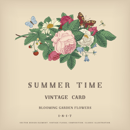 Summer vector vintage card with floral bouquet of garden pink roses, strawberries, bells on a gray background. Illustration