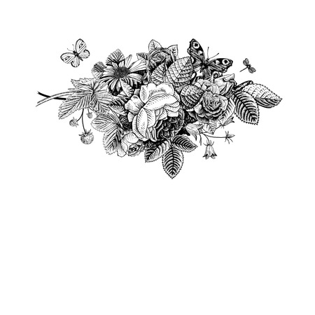 Summer vector vintage card with black and white floral bouquet of garden roses, strawberries, bells. Monochrome. Illustration, ink, pen. Vector