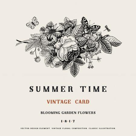 Summer vector vintage card with black and white floral bouquet of garden roses, strawberries, bells. Illustration, ink, pen. Illustration