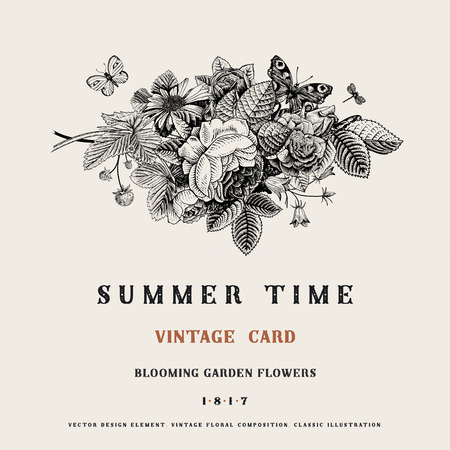 Summer vector vintage card with black and white floral bouquet of garden roses, strawberries, bells. Illustration, ink, pen. Vector