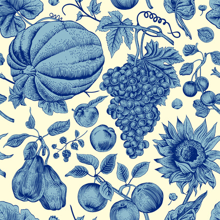 Autumn harvest. Blue pumpkin, sunflower, nuts and fruit on a light background. Vector seamless vintage pattern. Jouy.