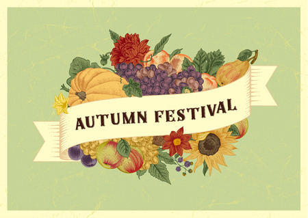 Autumn harvest festival. Vintage vector card. Pumpkin, grapes, sunflower, fruit on mint background. Stock Illustratie