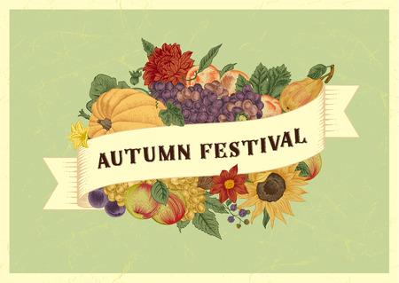 Autumn harvest festival. Vintage vector card. Pumpkin, grapes, sunflower, fruit on mint background. Illustration