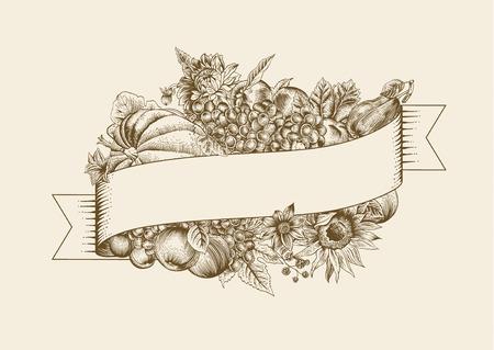 pumpkin: Autumn. Vintage vector card. Brown pumpkin, grapes, sunflower, fruit on beige background. Illustration
