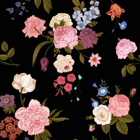 黒の背景に鮮やかな花のビクトリア朝の花束とシームレスなベクトル ビンテージ パターン。サンゴ、黄色いばら、チューリップ、デルフィ ニウム