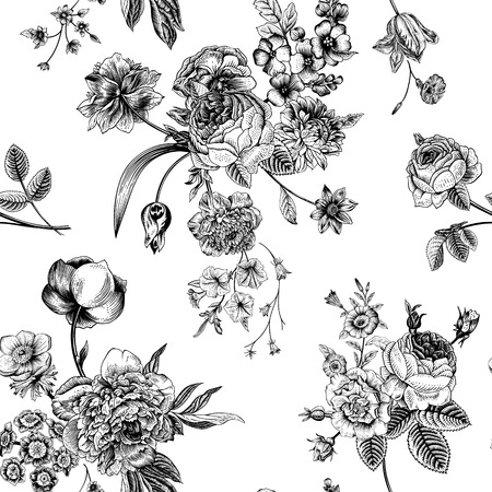 botanical: Seamless vector vintage pattern with Victorian bouquet of black flowers on a white background. Garden roses, tulips, delphinium, petunia. Monochrome.