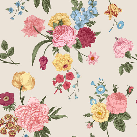 Seamless vector pattern with Victorian bouquet of colorful flowers on a gray background. Pink roses, tulips, blue delphinium. Иллюстрация