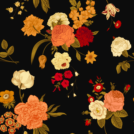 Seamless vector vintage pattern with Victorian bouquet of vivid flowers on a black background. Coral, yellow roses, tulips, delphinium, petunia with green leaves.
