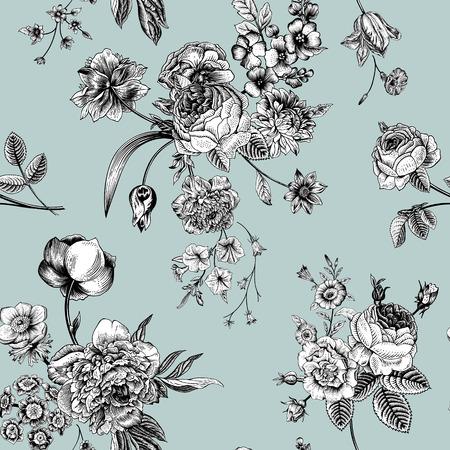 민트 배경에 검은 색과 흰색 꽃의 빅토리아 꽃다발 원활한 벡터 빈티지 패턴입니다. 정원 장미, 튤립, 참 제비 고깔, 피튜니아.