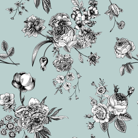 Seamless vector vintage pattern with Victorian bouquet of black and white flowers on a mint background. Garden roses, tulips, delphinium, petunia.