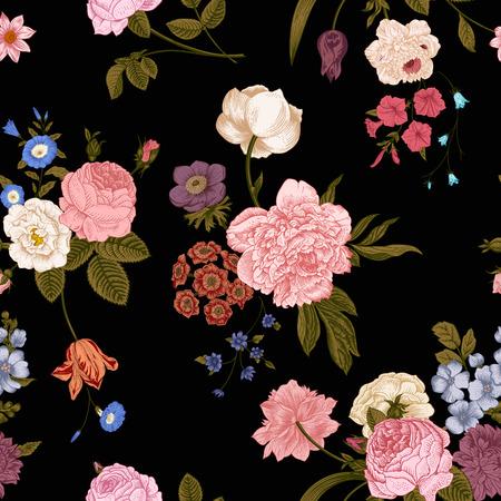 シームレスなベクター黒地に鮮やかな花のビクトリア朝の花束とヴィンテージのパターン。サンゴの黄色いばら、チューリップ、デルフィ、緑の葉