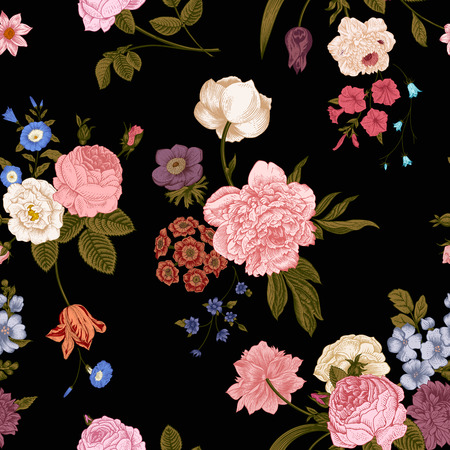 Seamless vector vintage pattern with Victorian bouquet of vivid flowers on a black background. Coral, yellow roses, tulips, delphinium, petunia with green leaves. Vector
