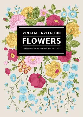 垂直方向への招待。色とりどりの花でビンテージ グリーティング カード。ベクトル イラスト。