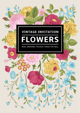 Vertical invitation. Vintage greeting card with colorful flowers. Vector illustration. Иллюстрация