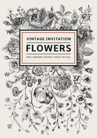 垂直方向への招待。庭の花を持つビンテージ グリーティング カード。ゴールド フレームと黒と白のベクトル。