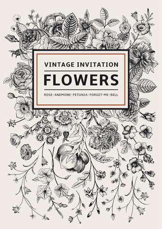 Vertical invitation. Vintage greeting card with garden flowers. Black and white vector with a gold frame.