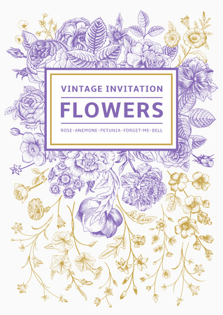 Vertical invitation. Vintage greeting card with gardenl flowers. Purple vector with a gold frame. Illustration