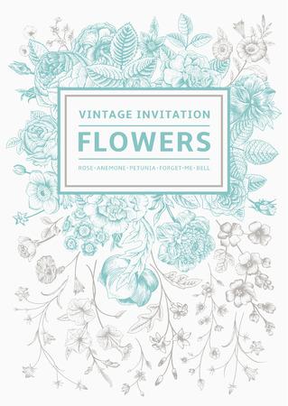 垂直方向への招待。庭の花を持つビンテージ グリーティング カード。灰色の枠とミントのベクトル。  イラスト・ベクター素材