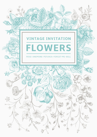 Vertical invitation. Vintage greeting card with garden flowers. Mint vector with a gray frame.