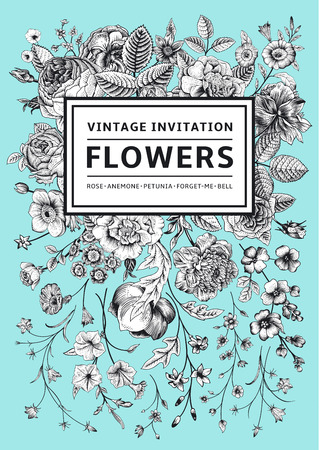 garden design: Vertical invitation. Vintage greeting card with garden flowers. Black and white vector on mint background.