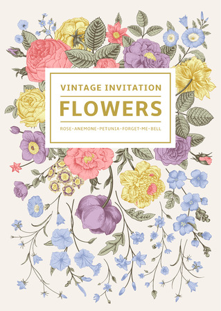 Vertical invitation. Vintage greeting card with colorful flowers. Vector illustration. Pastel color.