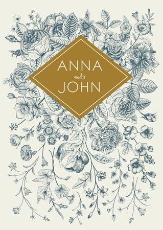 Verticale bruiloft uitnodiging. Vintage wenskaart met gardenl bloemen. Blauwe vector bloemen met een gouden frame. Stock Illustratie