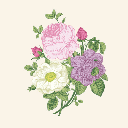 Floral card. Bouquet of roses, dogrose and anemone. Vintage vector illustration. Classic.