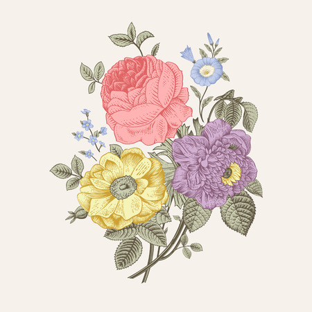 Floral card. Bouquet of roses, dogrose and anemone. Vintage vector illustration. Classic. Pastel color. Ilustração